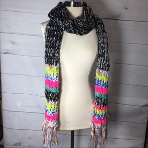 Collection Xiix Knit Muffler With Fringe Multicolo